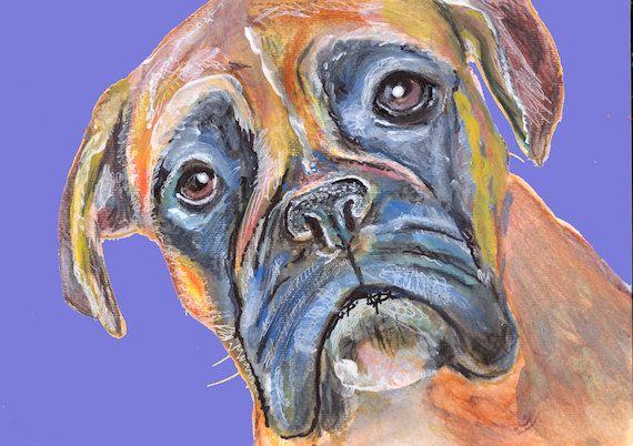 Boxer Dog art Print, colorful boxer dog painting, gift for boxer owner, brindle blue boxer dog, 8x10 boxer dog, large… #dogs #etsy #art