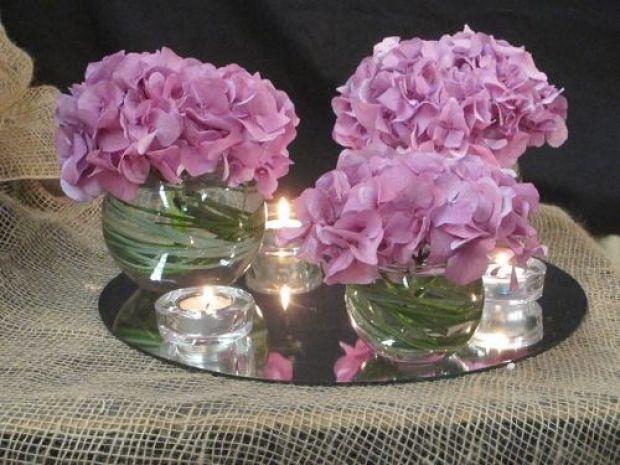 Centro de mesa con hortensias y velitas sobre espejo - Fotos de mesas de centro ...