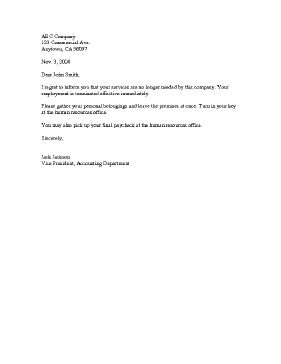 A customizable letter template that serves to notify an employee his or her job has been terminated due to layoff or being fired. Free to download and print