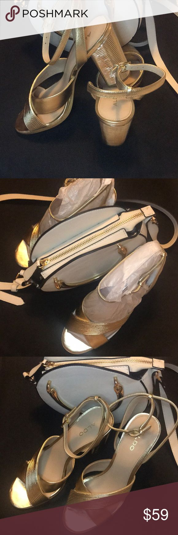 """Gold Chunky Heel Strappy Sandal A night on a town, a wedding, a date night, these sling back strappy chunky heels are the go to shoe. Perfect heel size at 3.75""""- Runs small (may fit a 7 or 7 1/2 as well). Shoes Heels"""