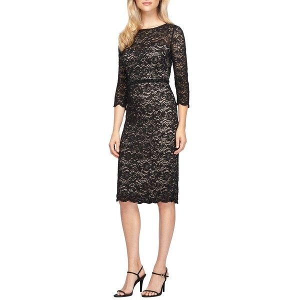 Women's Alex Evenings Glitter Lace Midi Dress (5835 NIO) ❤ liked on Polyvore featuring dresses, black nude, petite, beaded sheath dress, petite midi dress, lace sheath dress, beaded lace cocktail dress and nude dress