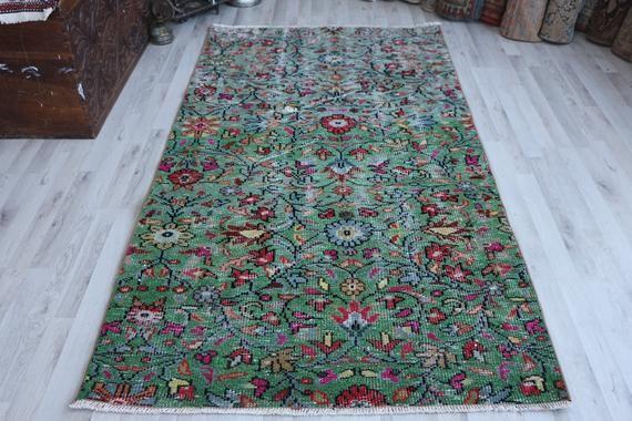 Turkish Rug Vintage Rug Floor Rug Oriental Rug Free Shipping 3 7 X 7 Ft Turkey Rug Floral Rug Carpet Organic Rug B In 2020 Oversized Rugs Organic Rug