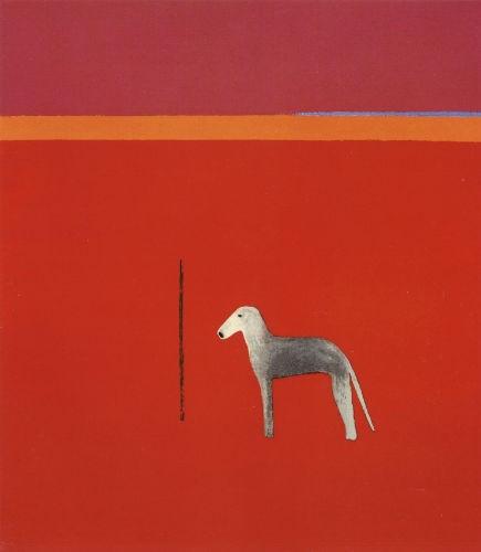 Dog In Red  by Craigie Aitchison