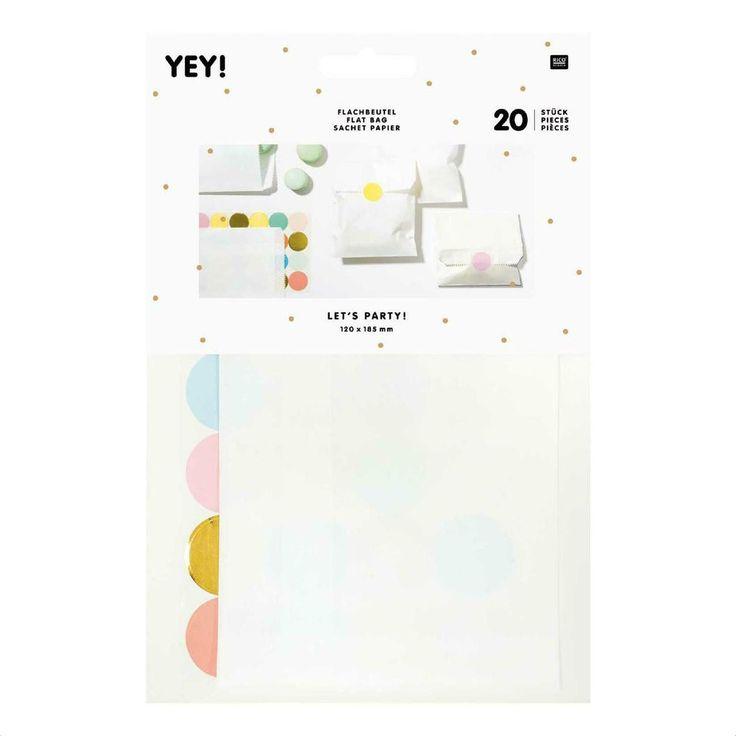 Papiertüten - 20 Flachbeutel weiße Papiertüten  & bunte S... - ein Designerstück von krealiebst bei DaWanda