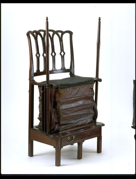 Exercise chair, made 1790 - 1820, Mahogany, with horsehair and leather upholstery. Bequeathed by Lt. Col. G. B. Croft-Lyons FSA. l Victoria and Albert Museum