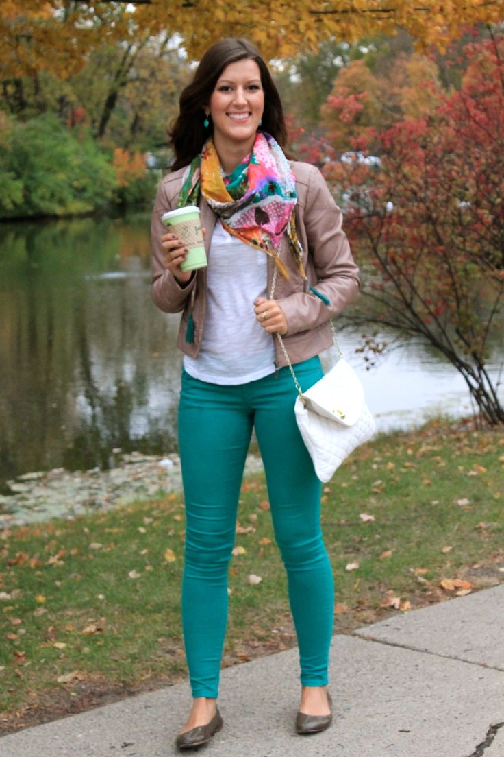 Very cute.  I love the colors in the pants and scarf.