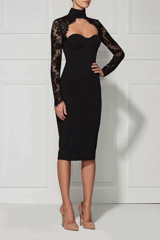 This is our new go-to little black dress. We love the cutout choker neckline and sheer lacy details.