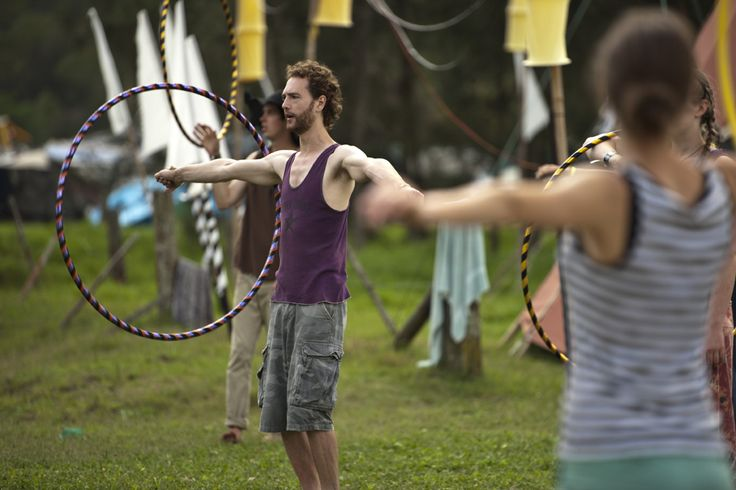 The gorgeous Huw with Little Miss Circus Teaching Hula Hoops Workshops @ Peats Ridge Festival 2011/12