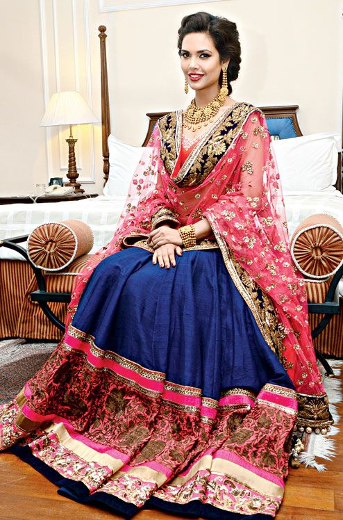 Navy blue and hot pink embroidered lehenga.