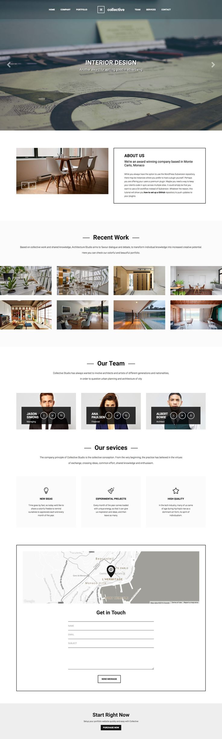 'Collective' is a multi-page WordPress theme with a dedicated One Page portfolio layout option. Features include fixed header navigation (that smooth scrolls to relevant sections), intro slideshow, company overview (with bonus image slider), AJAX loading portfolio with a lovely big image project slider, team section, Google Maps integration and a contact form. The WordPress theme is of course fully responsive and I especially like how how the team section adapts to mobile.