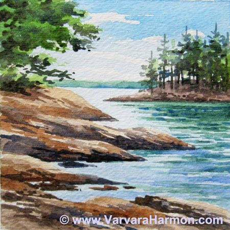 Wolfes Neck, Miniature watercolor