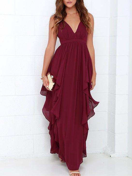 Maxi robe en mousseline col V foncé -bordeaux rouge -French SheIn(Sheinside)                                                                                                                                                     Plus