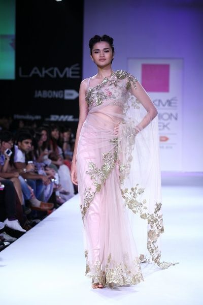 Anushree Reddy, lavender and silver saree, blush sari, net, sleeveless
