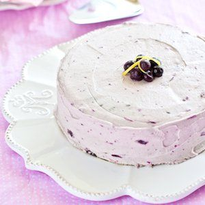 A beautiful Gluten Free Lemon Cake with Blueberry Frosting. Simple, delicious and pretty!