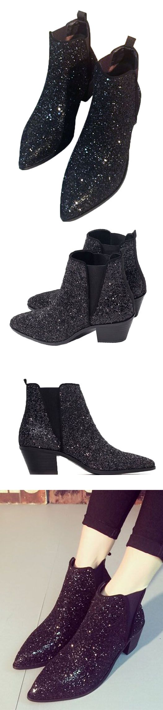 Sequin pointed ankle boots. Looks great in fall and winter seasons. Featuring your feet.