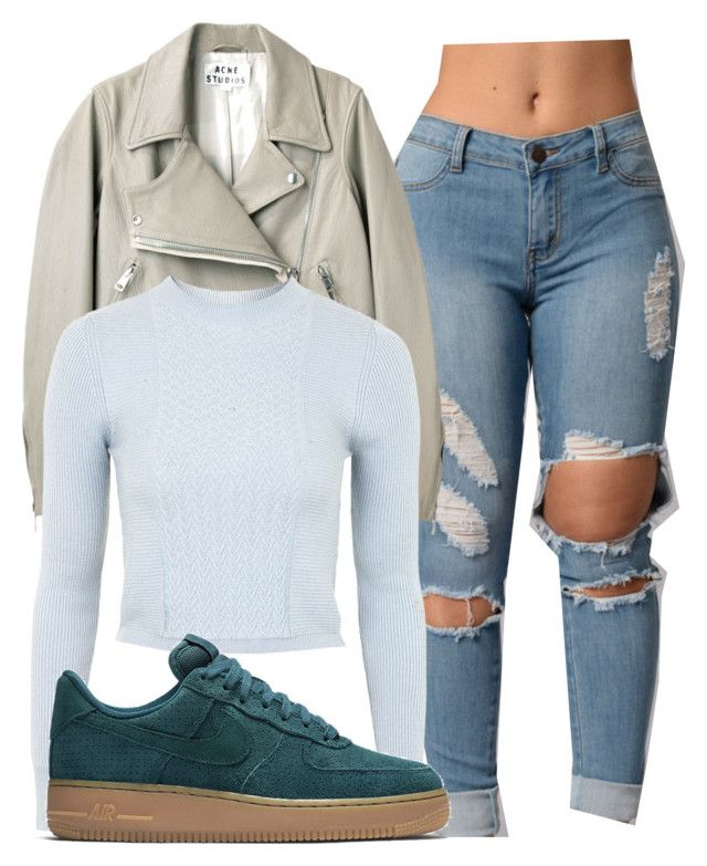 """""""Untitled #1379"""" by shyannelove123 ❤ liked on Polyvore featuring Acne Studios, Topshop and NIKE"""