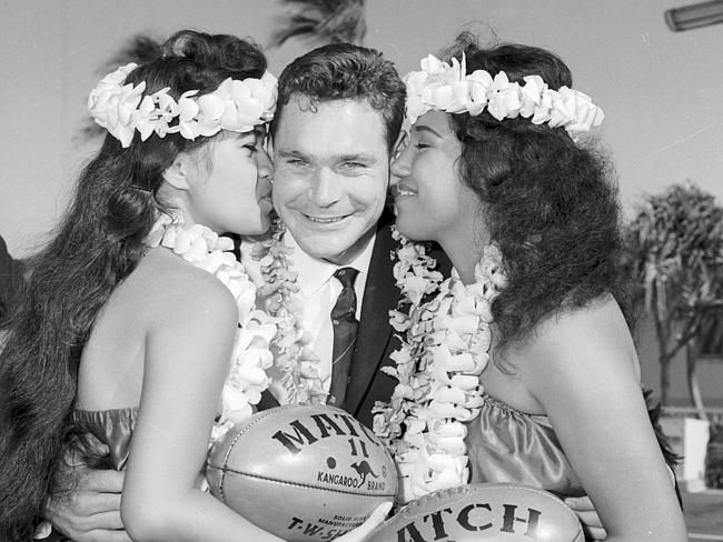1963: Ron Barassi pictured in Hawaii where Melbourne and Geelong played an exhibition mat