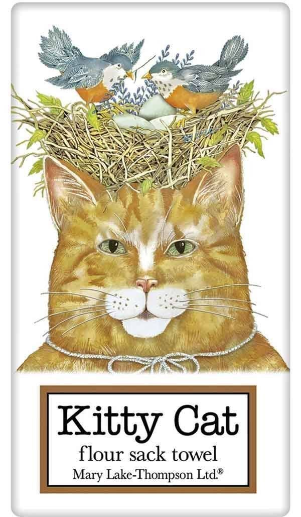 Orange Tabby Cat with Bird Nest 100% Cotton Flour Sack Dish Towel Tea Towel