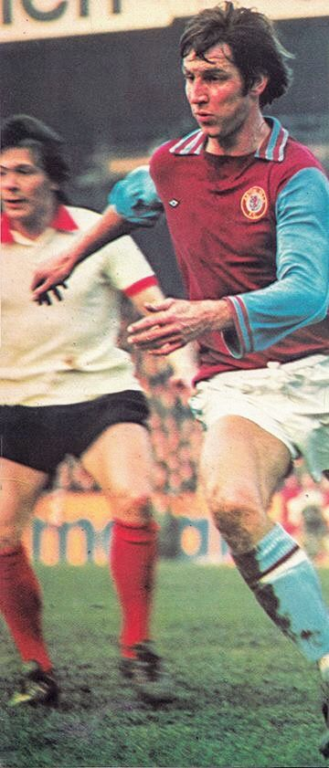 Aston Villa 2 Man Utd 0 in Feb 1975 at Villa Park. Chris Nicholl and Stuart Pearson in action in the big 2nd Division clash.