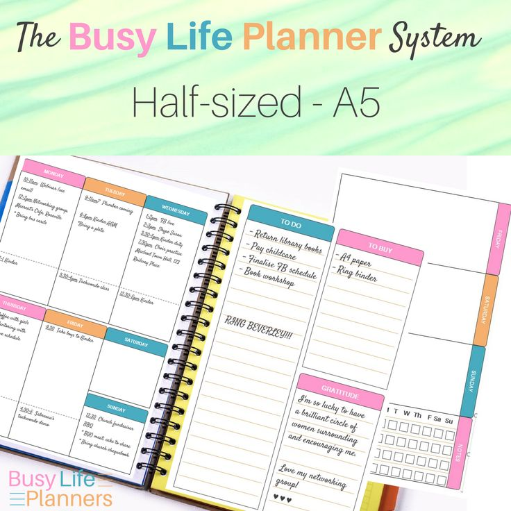 Half sized printable weekly planner - to fit A5 or half letter sized journals. The Busy Life Planner system.