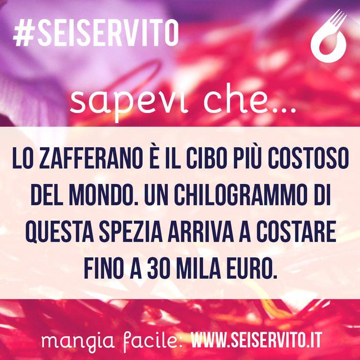 Lo zafferano è il cibo più costoso... #SeiServito #MangiaFacile www.seiservito.it