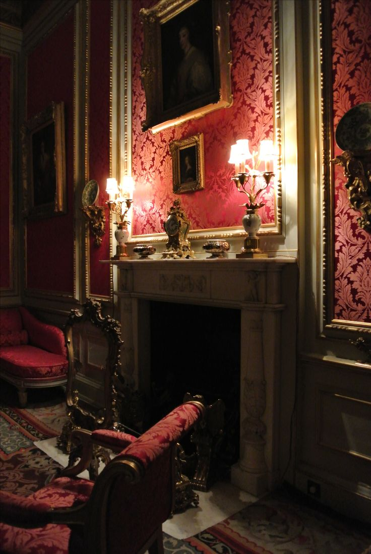 The Red Drawing Room in Belton House. Pure silk damask woven narrow in crimson for the Red Drawing room upholstery restoration and window drapes. ♦cM