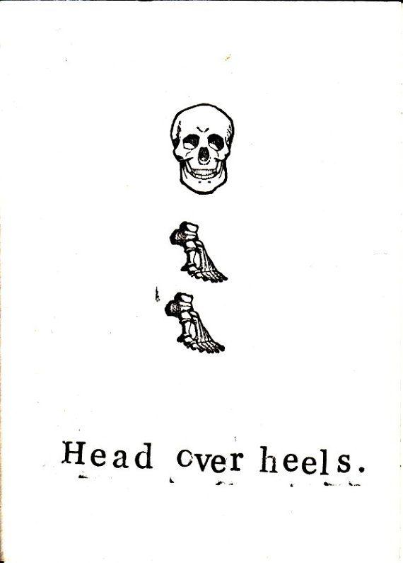 Funny Skeleton Anatomy Science Medical Valentine Card - Head Over Heels by ModDessert