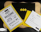 Custom Batman themed wedding invitations. www.facebook.com/weddingsbyalisonshane