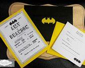 Custom Batman themed wedding invitations.  www.facebook.com/weddingsbyalisonshane