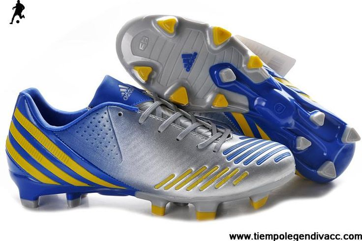 Fashion Adidas Predator LZ TRX FG - Silver-Yellow-Blue Soccer Boots For Sale