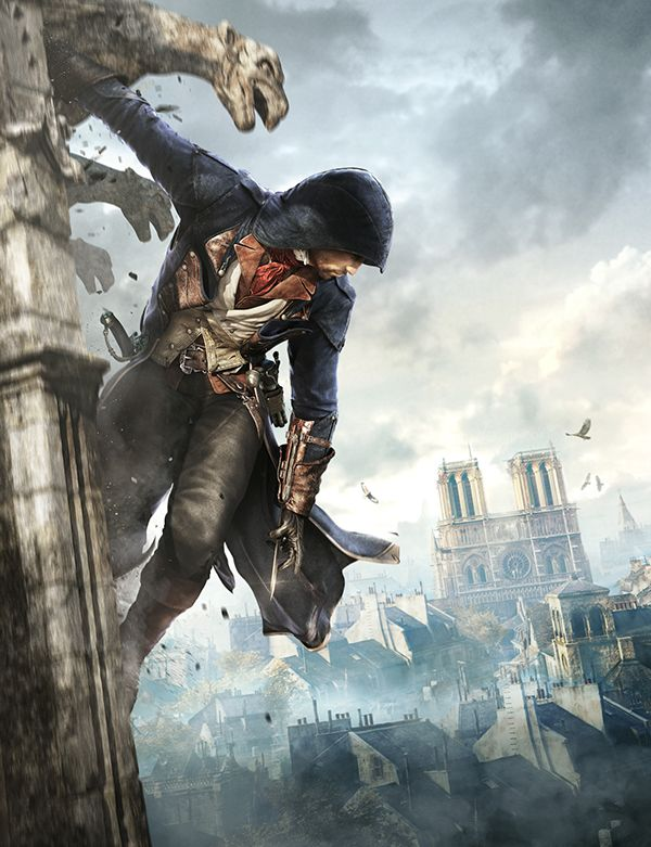 Vue de la Cathédrale Notre Dame de Paris dans Assassin's Creed Unity.
