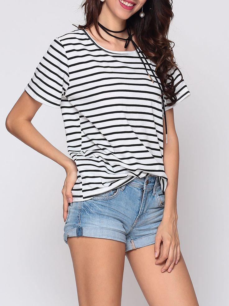 #AdoreWe #FashionMia Short sleeve T-shirts - FashionMia Striped Batwing Exquisite Round Neck Short-sleeve-t-shirt - AdoreWe.com