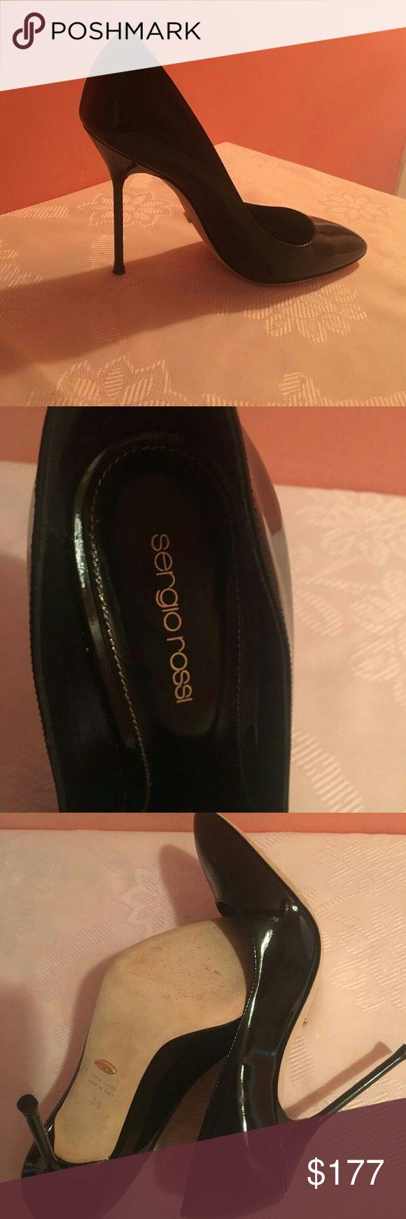 Sergio Rossi Black Patent Pumps Very sexy Sergio Rossi black patent leather pumps    Worn once    Runs a bid small    Excellent condition Sergio Rossi Shoes Heels