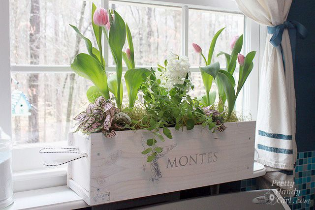DIY-White-washed Window Box from a Wine Crate