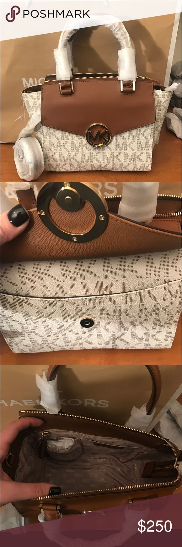 ♈️$200! Michael Kors Hudson Gorgeous vanilla michael kors color with brown accent and gold hard ware. Perfect size cross body!! Michael Kors Bags Crossbody Bags