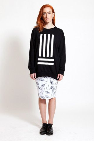 Stand out of the crowd with DIG ATHENS black sweatshirt with the white stripes. Available at www.ozonboutique.com