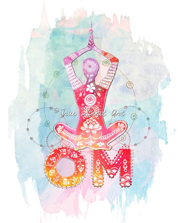 Om Yogi 8x10 Art Print Yoga Pose by LeslieSabella on Etsy