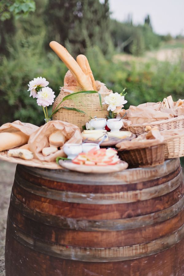 Appetizers on Wine Barrel Tuscany Wedding | photography by http://rochellecheever.com