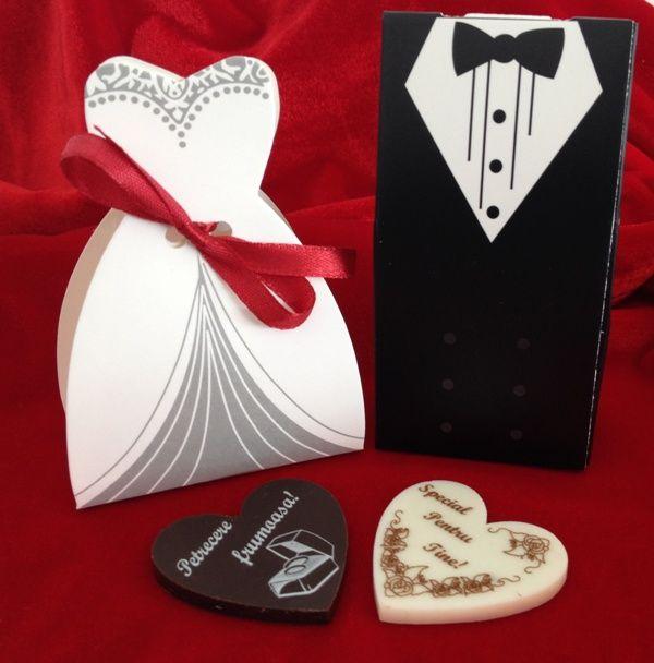 Marturii nunta, din ciocolata! Set cutiute, pt marturii.