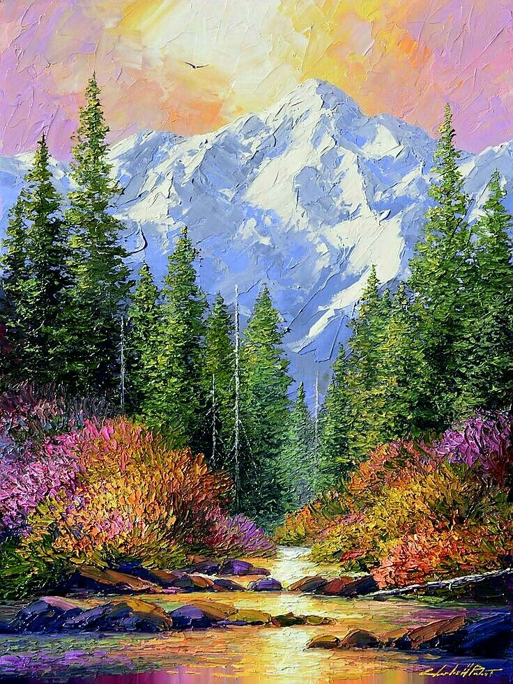 Amazing nature oil paintings images for Artiste nature