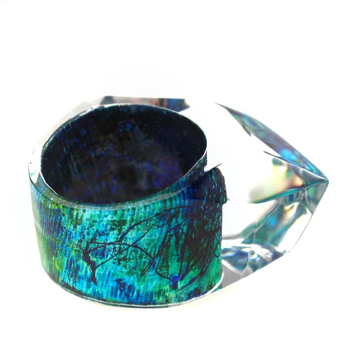Multi shades of Green & Blue metallic finishes highlighted by my abstract scrawl.        From new ring collection.