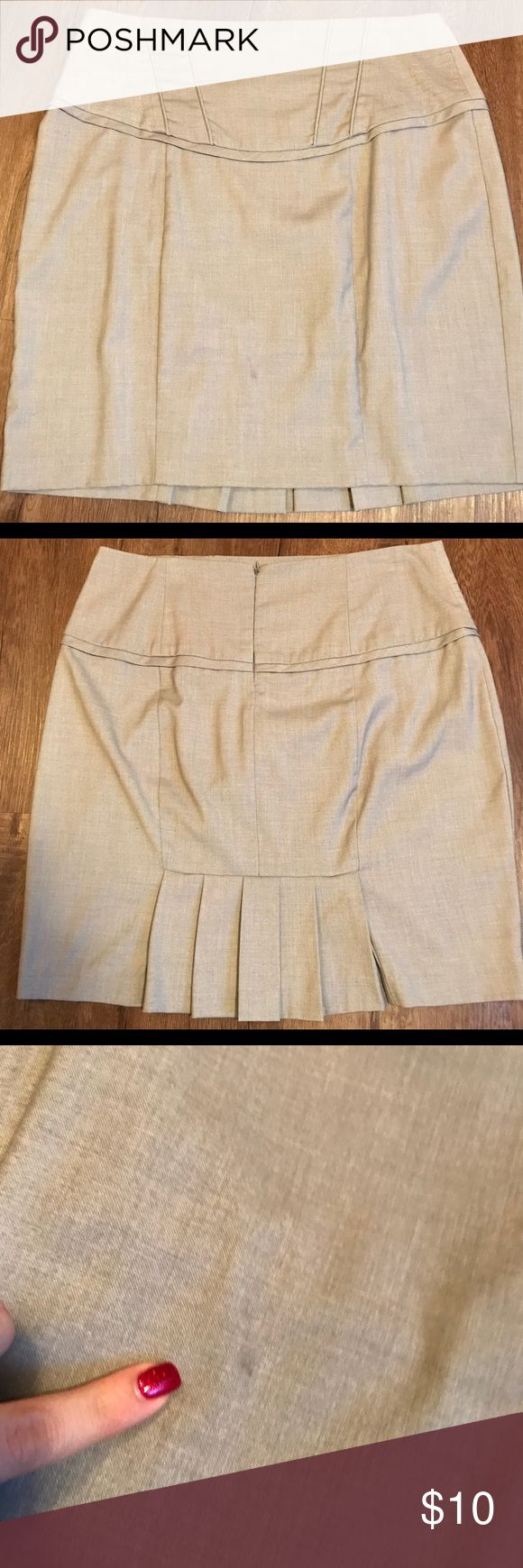 """High Waisted short Pencil Skirt Skirt has a zipper on back and a tummy control waist band. There is a small dark smudge on front of skirt barely noticeable and may be washable as shown in pictures. Back has cute pleated ruffles! Size 11/12 but fits a 10. Shoes and shirt are posted for sale separately, bundle if you'd like 😊  Waist 16"""" Length 19"""" XOXO Skirts Pencil"""