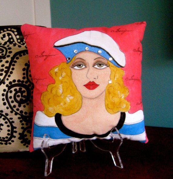 new. ELOISE PARIS GIRL, Hand Painted Pillow, Paris quote, hot pink, ocean blue, beret, Paris, Paris woman, gift for woman, Bonjour, stripes
