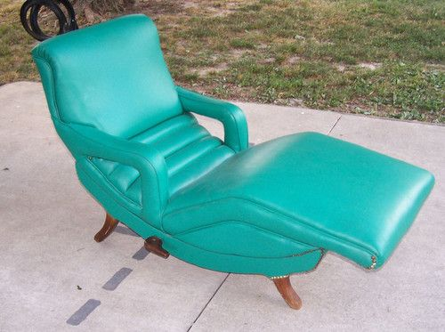 mid century modern green reclining lounge chair movement eames era