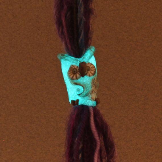 glow in the dark owl dread bead dreadlock by FlameTouchedGlass, $35.00