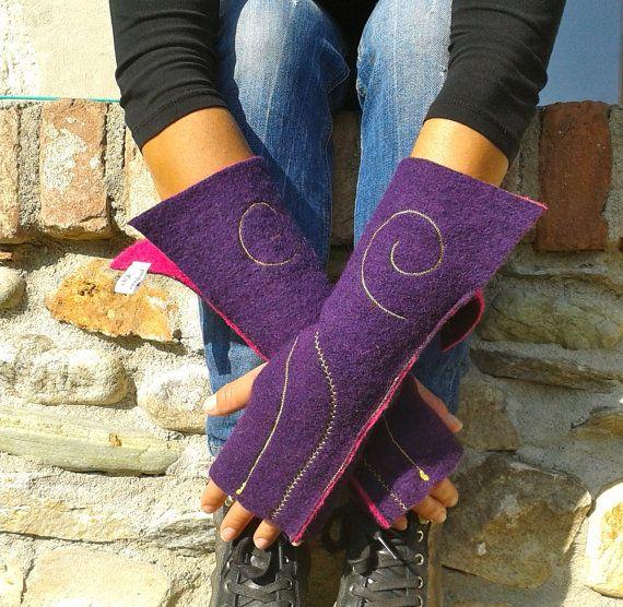 fingerless gloves woman gloves boiled wool gloves