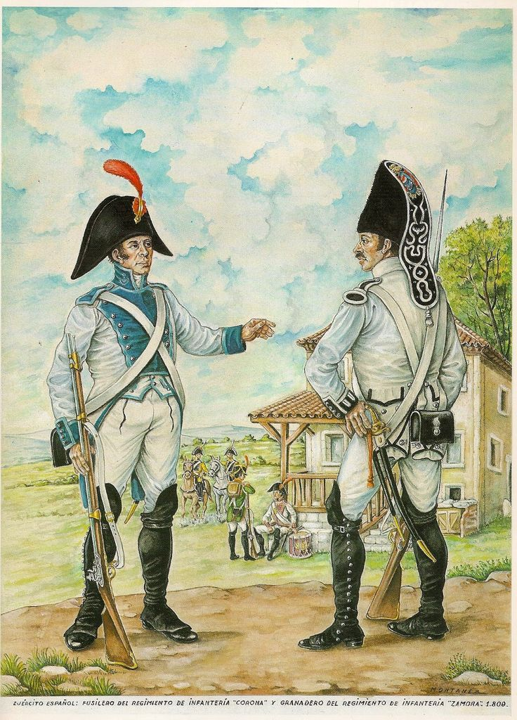 NAP- Spain: Spanish Fusilier (Regiment Corona) and Grenadier (Regiment Zamora) 1809, by Miguel Montaner.