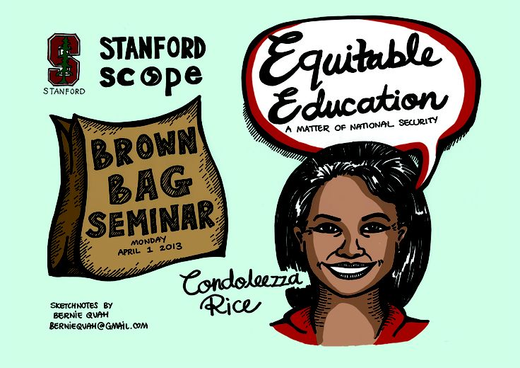 "Condoleezza Rice shared here thoughts on ""Equitable Education, A Matter of National Security"" at Stanford Center for Opportunity Policy in Education (SCOPE)."