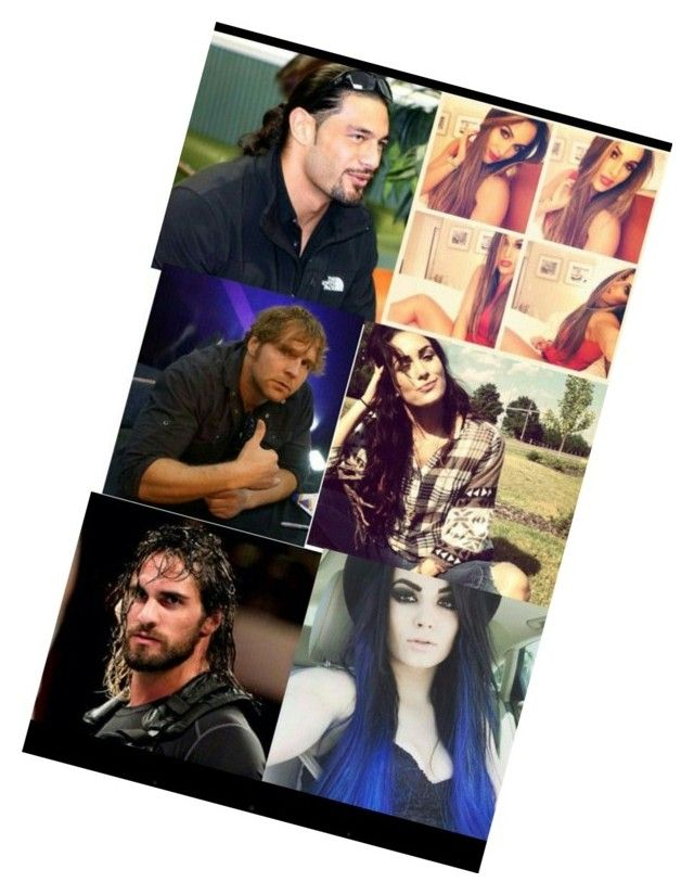 """Roman Reigns Nikki Bella Dean Ambrose Brie Bella Seth Rollins Paige"" by tembelas02 ❤ liked on Polyvore"