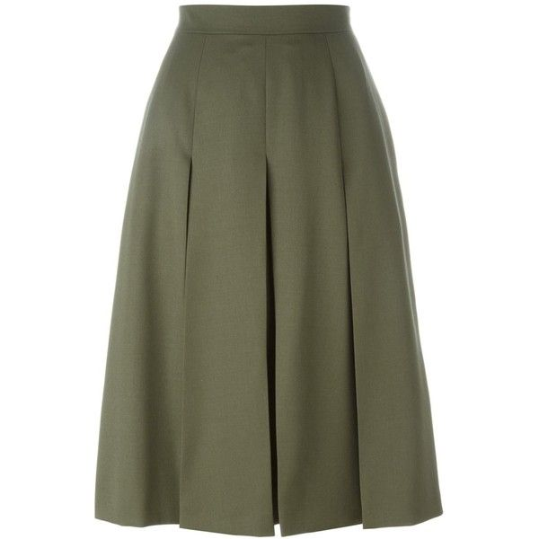 Alexander McQueen pleated midi skirt ($865) ❤ liked on Polyvore featuring skirts, green, high waisted midi skirt, high-waist skirt, pleated skirt, knee length a line skirt and green skirt
